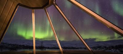 the northern lights from transun's glass cabins